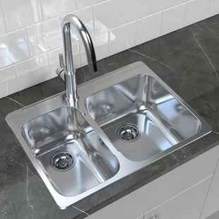kitchen drain cheap table sets for sale double basin sinks you ll love wayfair ca 27 25 l x 20 5 w drop in sink with assembly and basket strainer