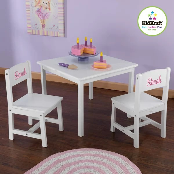 kidkraft aspen table and chair set metal thonet personalized kids' 3 piece & reviews | wayfair