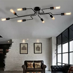 ceiling lights for living rooms cheap chairs room flush mount lighting you ll love wayfair steel art 8 light semi