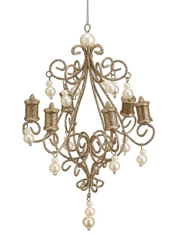 Seasons Of Elegance Gold Glitter Chandelier With Faux Pearls Christmas Ornament