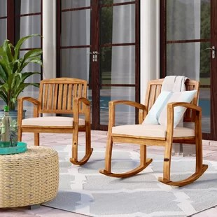 outdoor rocking chairs wooden kitchen chair patio gliders you ll love wayfair coyne acacia set of 2