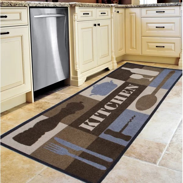 kitchen carpet refrigerator cabinets laurel foundry manderson collage brown blue cream rug reviews wayfair co uk