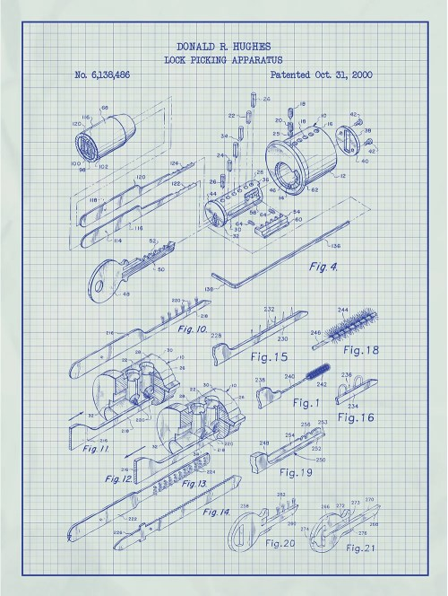 small resolution of inked and screened vintage inventions lock picking apparatus silk screen print graphic art in white grid blue ink wayfair
