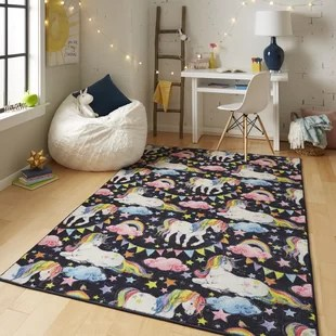 animal rugs for living room window treatments formal baby kids you ll love wayfair sunny side power loomed prismatic unicorn wish black pink area rug