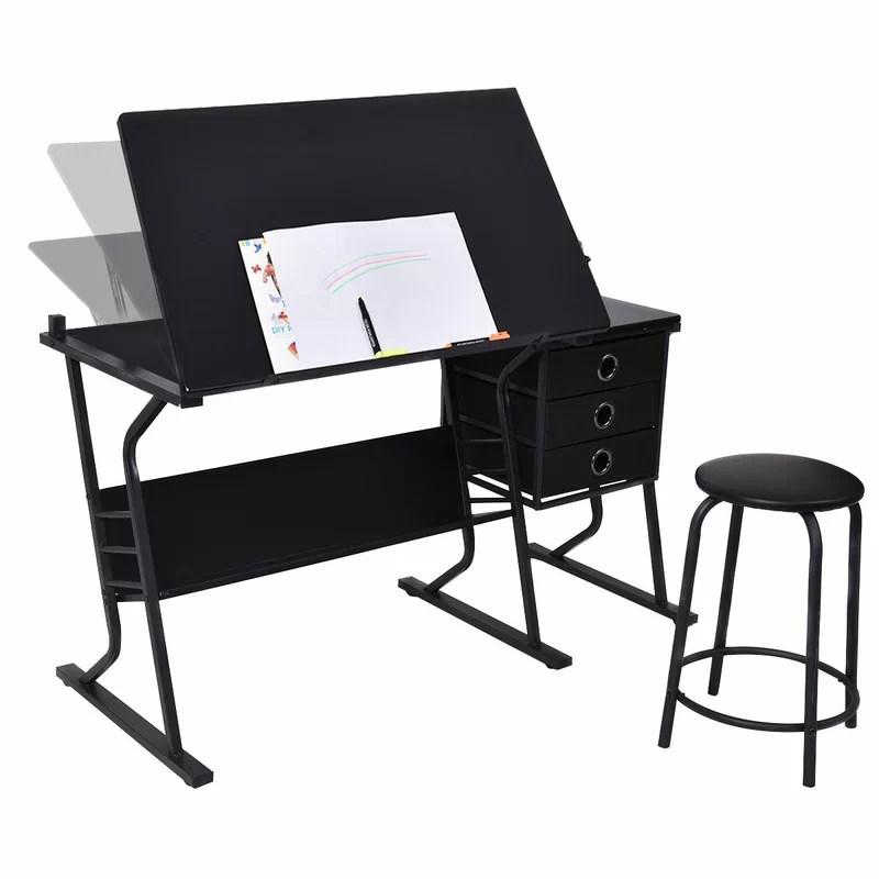 drafting table chairs office ergonomic symple stuff laguardia adjustable and chair set wayfair