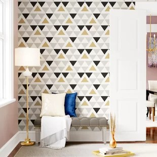 latest living room wallpaper designs design with grey sofa you ll love wayfair rodden triangle 16 5 l x 20 w geometric peel and stick roll