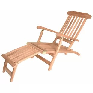 teak steamer chair covers home goods wayfair mirabel reclining chaise lounge