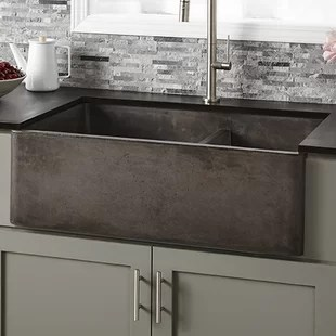 concrete kitchen sink small cabinets sinks wayfair quickview