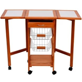 folding kitchen cart build your own island origami wayfair with wood top