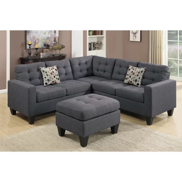 chocolate brown leather sectional sofa with 2 storage ottomans grey sofas cheap large ottoman wayfair