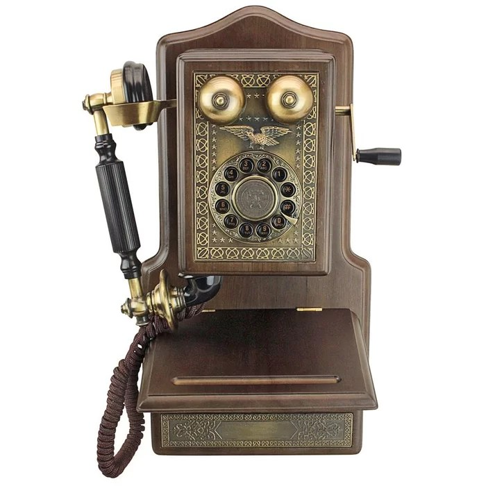 kitchen phone baby pink appliances design toscano antique country decor 1907 rotary wall telephone wayfair ca