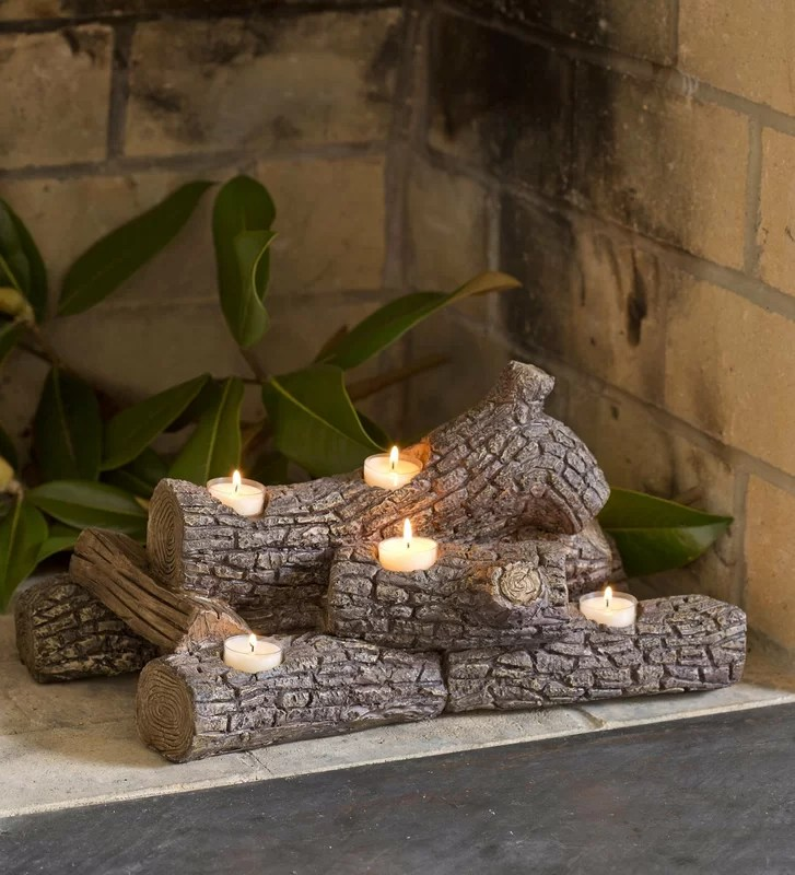 Birch Wood Fireplace Logs Plow & Hearth Logs Hearth Candle Holder & Reviews | Wayfair