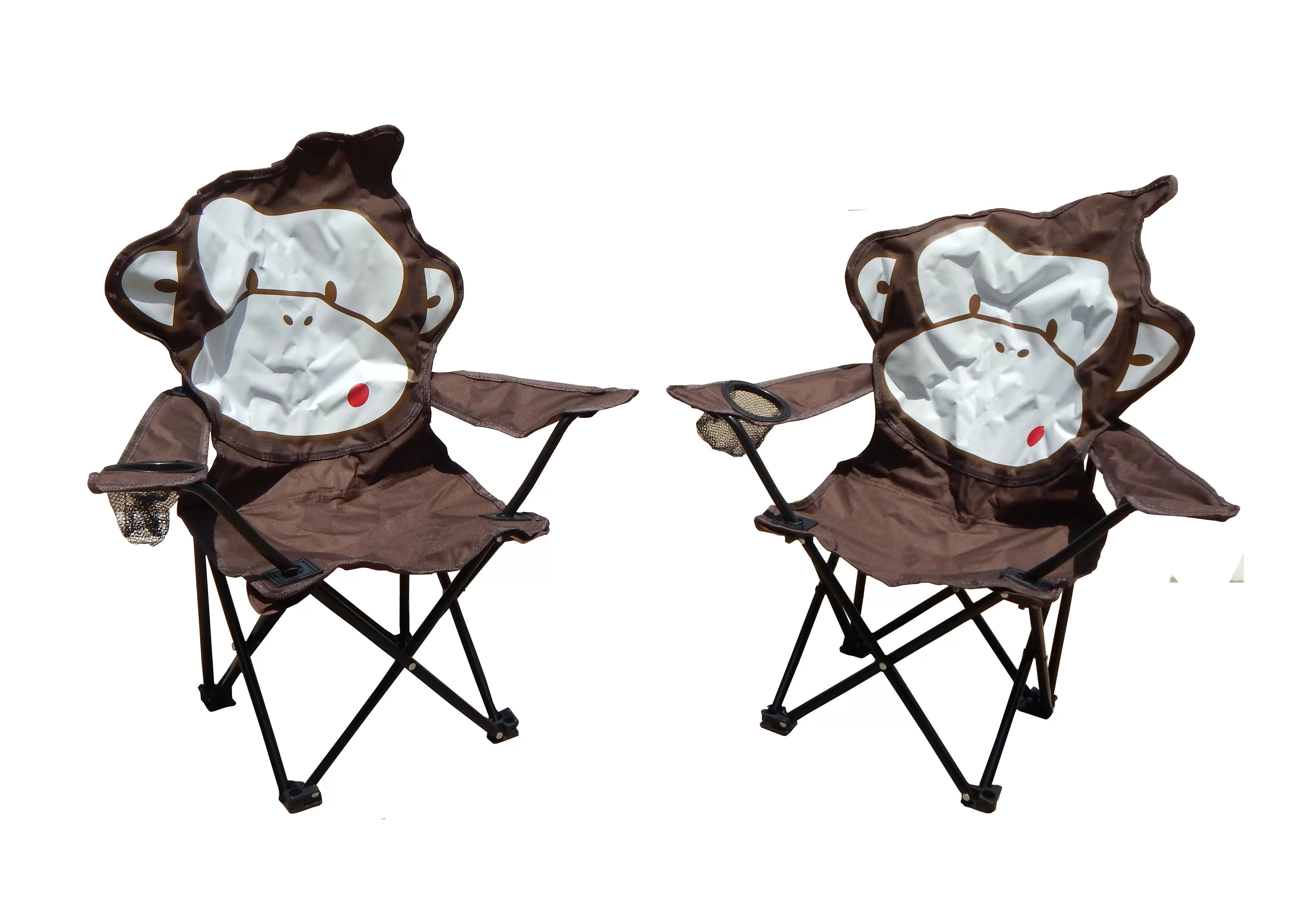 Cute Folding Chairs Zoomie Kids Marcus Monkey Folding Camping Kids Chair With Cup