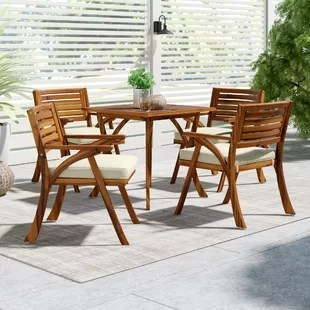 outdoor table and chairs wood folding for use patio dining sets you ll love wayfair quickview
