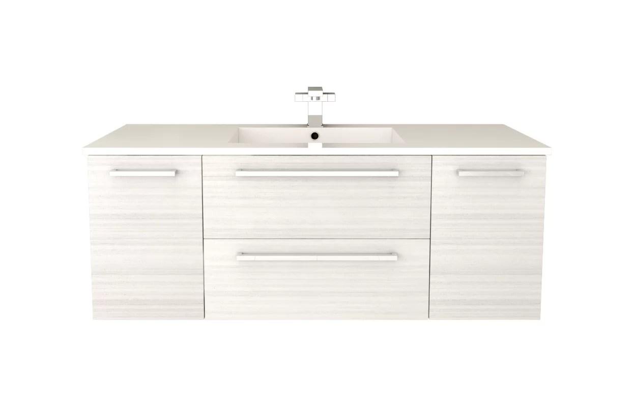 "silhouette 48"" wall-mounted single bathroom vanity set & reviews"
