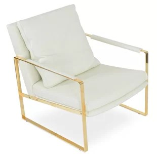 white and gold chair childs wooden table chairs uk modern accent allmodern quickview