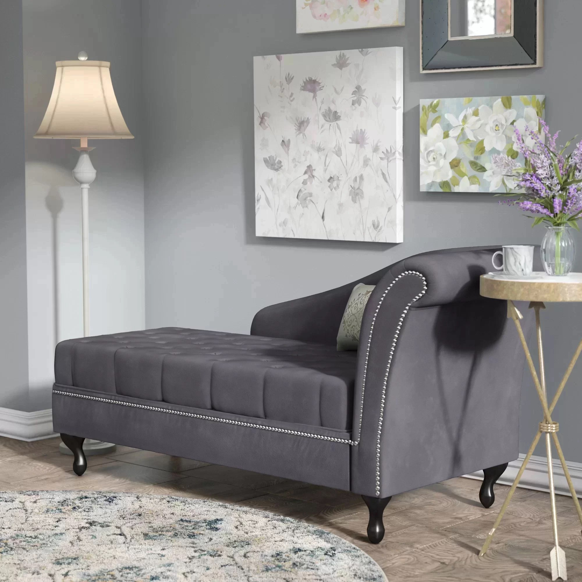 chaise in living room peach color lark manor hugo lounge reviews wayfair