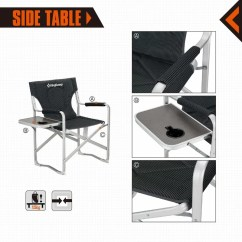 Heavy Duty Folding Chair With Side Table Rosewood Chairs Danish Kingcamp Portable Reclining Camping Kingcampportable Armrest And Cup Holder