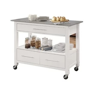 stainless steel kitchen cart whiteboard modern islands carts allmodern monongah rectangular with top