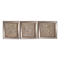 Cole & Grey 3 Piece Metal Mirror Plaque Wall Dcor Set