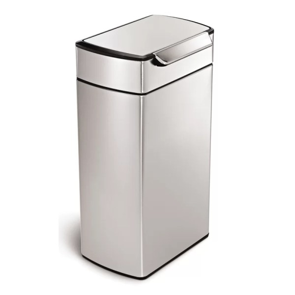 Simplehuman 10.6 Gallon Rectangular Touch-bar Trash Brushed Stainless Steel &