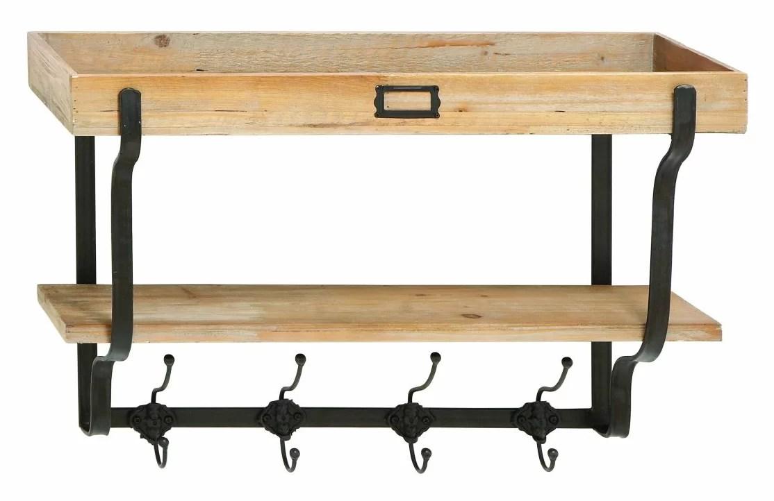 Wood And Metal Wall Mounted Coat Rack & Reviews