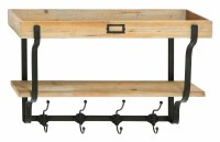 Wood And Metal Wall Mounted Coat Rack & Reviews