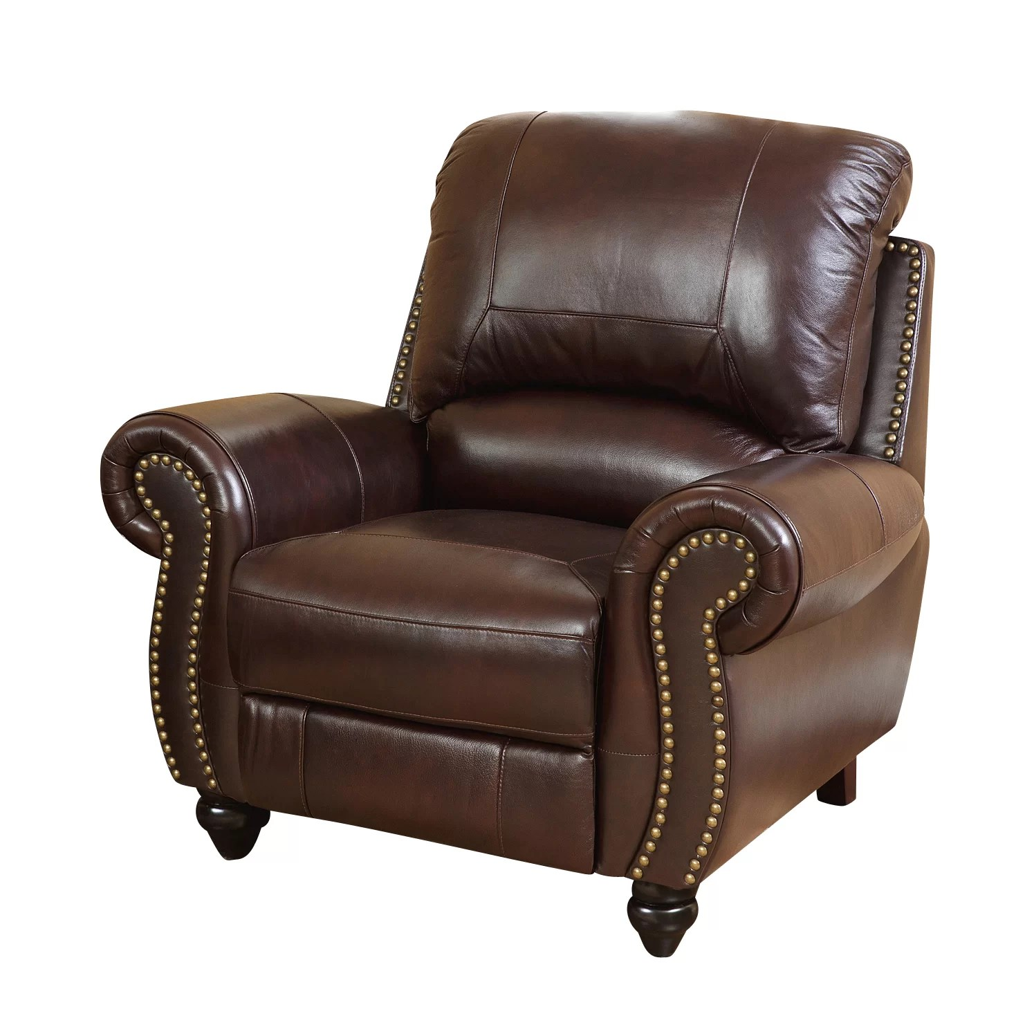 reclining arm chair yankee stadium chairs darby home co kahle leather recliner and reviews