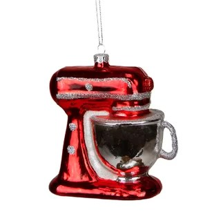 red kitchen appliances rolling island with seating small wayfair glittered mixer appliance christmas ornament