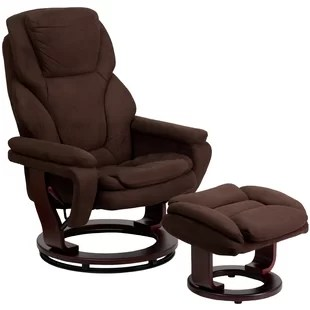 reclining chair with ottoman leather covers stretch recliners you ll love wayfair weinstein swivel recliner and