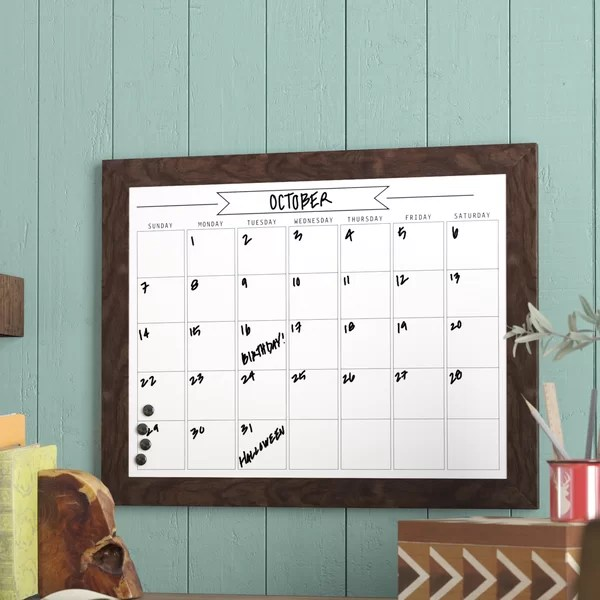 Union Rustic Framed Monthly Write On Calendar Magnetic
