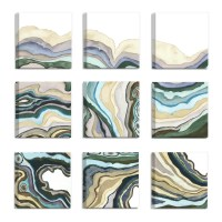 'Geode Abstract Waves' 9 Piece Canvas Wall Art Set ...