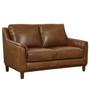 genuine leather sofa and loveseat boxer brown distressed sofas you ll love wayfair knowles