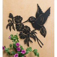 Wind & Weather Hummingbird and Flower Silhouette Metal