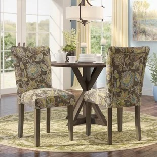 cloth dining room chairs folding chair kickstarter animal print wayfair champaign floral upholstered set of 2