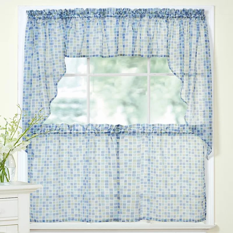 swag kitchen curtains best knobs sweet home collection tiles block sheer tier valance and set