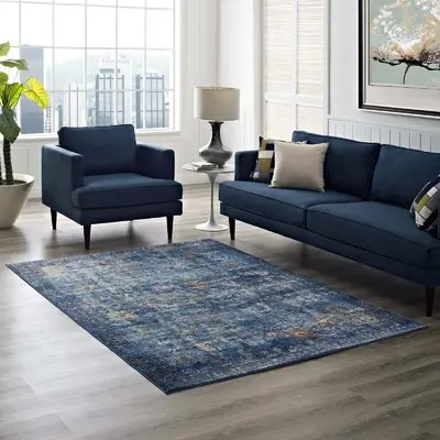 living rooms with blue area rugs dark brown leather sectional room ideas devay floral steel rug reviews birch lane heitzman