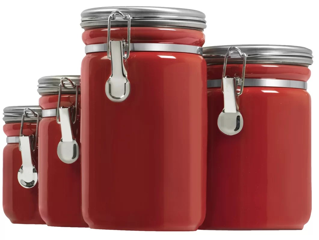red canister set for kitchen portable islands with seating anchor hocking 4 piece and reviews