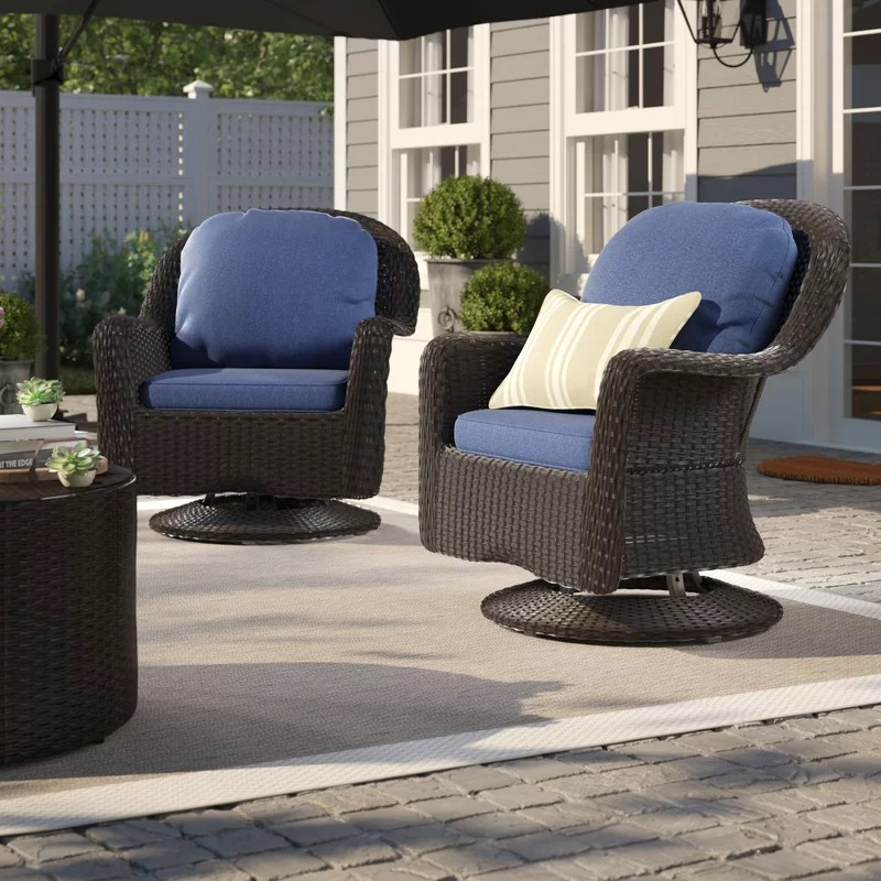 wicker swivel patio chair christina's covers and sashes birch lane heritage middletown modern outdoor club with cushions