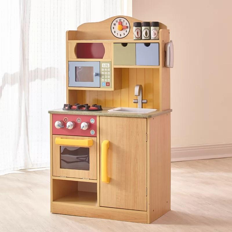 wood kitchen set custom island ideas teamson kids 5 piece little chef wooden play reviews wayfair