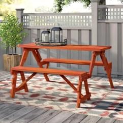 Folding Chair Picnic Table Lifting Recliner Chairs Convertible Bench Wayfair Dreiling Wood Garden