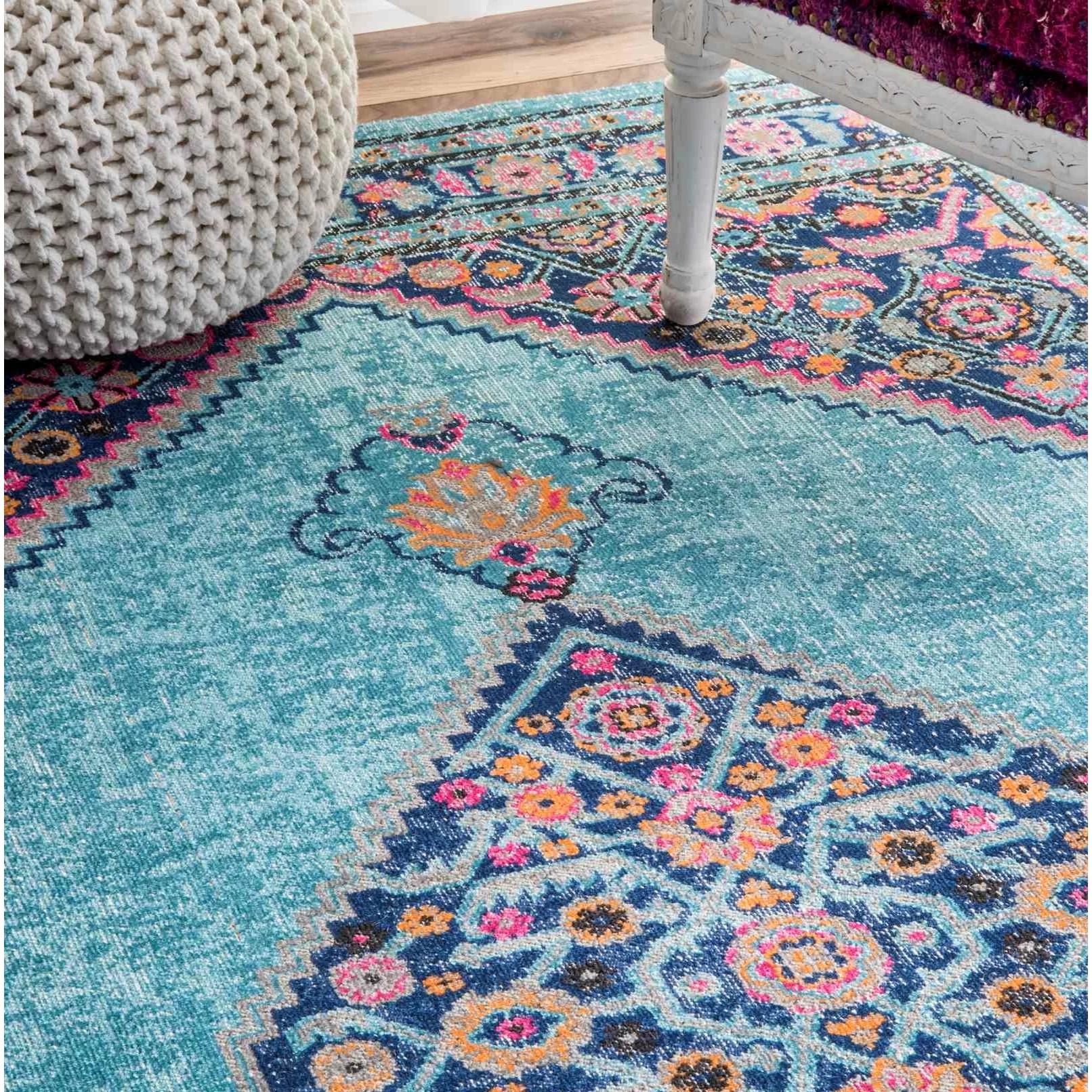 chicken kitchen rugs metal top table bungalow rose babita blue/pink area rug & reviews | wayfair