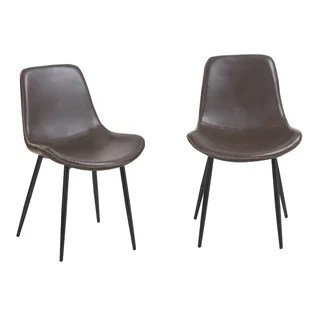 leather dining chairs cracker barrel rocking chair cushions genuine kitchen you ll love wayfair paulita vintage upholstered set of 2