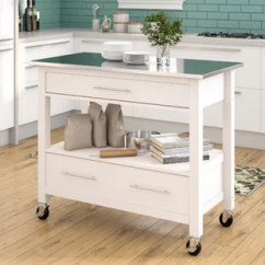 Stainless Steel Kitchen Cart Built In Cabinets Islands Carts You Ll Love Wayfair Monongah Rectangular With Top