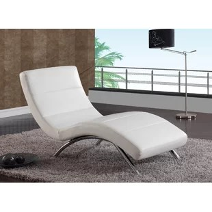 white chaise chair bamboo cushions leather lounge wayfair quickview