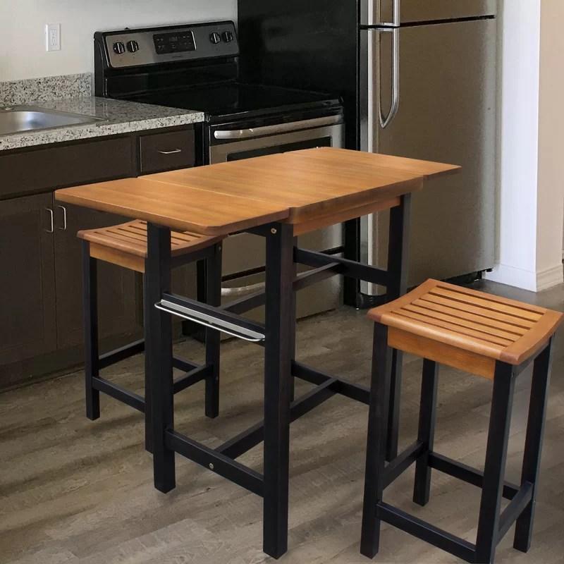 Red Barrel Studio Jeanetta 3 Piece Table Stool Kitchen Island Set