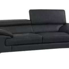Black Leather Sofa Loose Back Slipcover Modern Contemporary Sofas Allmodern Quickview