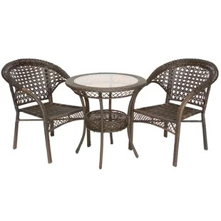 3 piece outdoor table and chairs comfortable desk chair no wheels dining sets joss main melia wicker bistro set