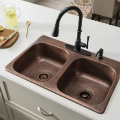Copper Kitchen Sinks Closets Antique You Ll Love Wayfair Ca Raphael 33 L X 22 W Double Bowl Drop In Sink