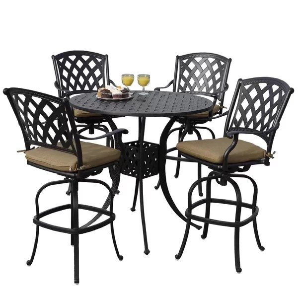 outdoor high top table and chairs set old wooden desk chair patio bar dining sets you ll love wayfair